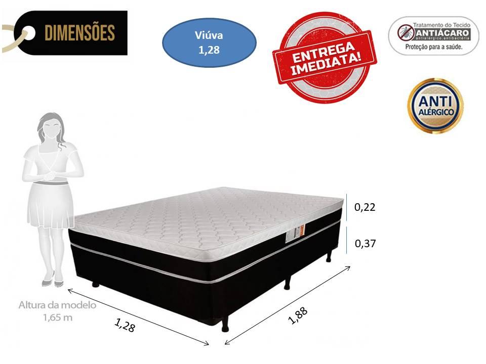 Conjunto Box - Colchão Molas Pluma Spring Plumatex + Cama Box Viúva Premium Corino Preto 1,28 x 1,88