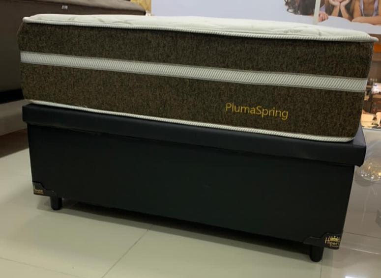 Conjunto Box - Colchão Molas  Pluma Spring Plumatex + Cama Box Solteirão Premium Corino Preto 1,10 x 1,88