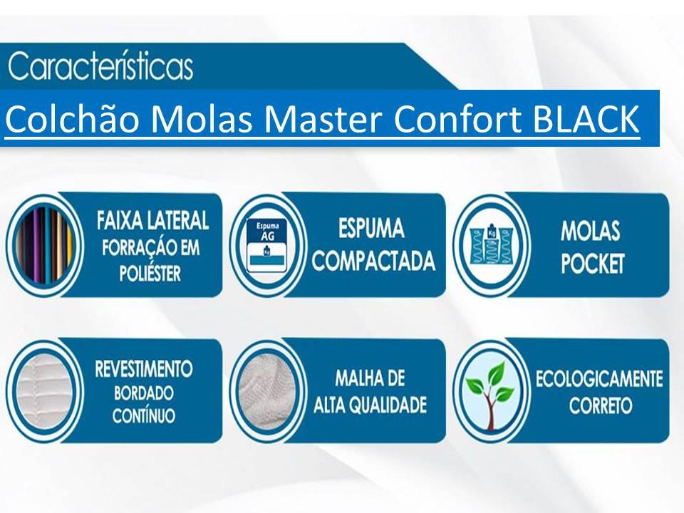 Conjunto Cama Box Baú Casal Premium Inteiriço Corino Preto 1,38x1,88 + Colchão Molas Luxor Black 25 cm
