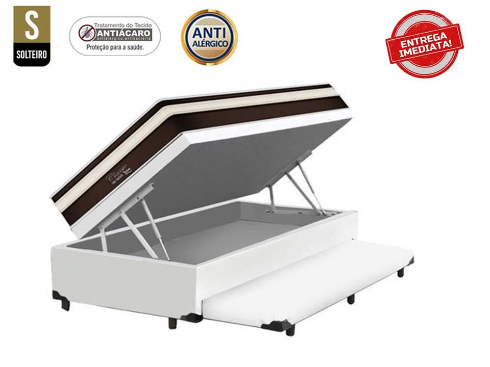 Conjunto Cama Box Baú Solteiro 3 em 1 Auxiliar Ortopédico Corino Branco + Colchão de Molas Luxor Black
