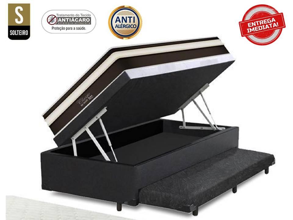 Conjunto Cama Box Baú Solteiro 3 em 1 Auxiliar Ortopédico Corino Preto + Colchão de Molas Luxor Black