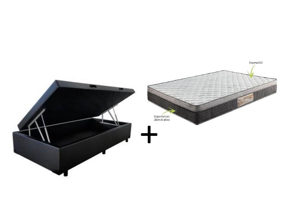 Conjunto Cama Box Baú Solteiro Premium 088X188 Corino + Colchão Ortopédico D-33 Rondomóveis