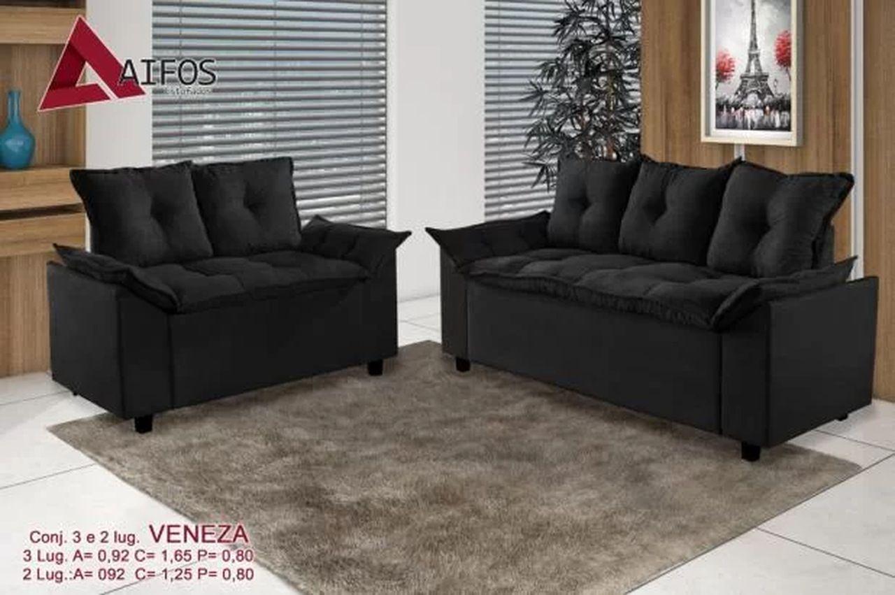 Conjunto de Sofá 2 e 3 Lugares Veneza - Sued Preto /Bege / Cinza