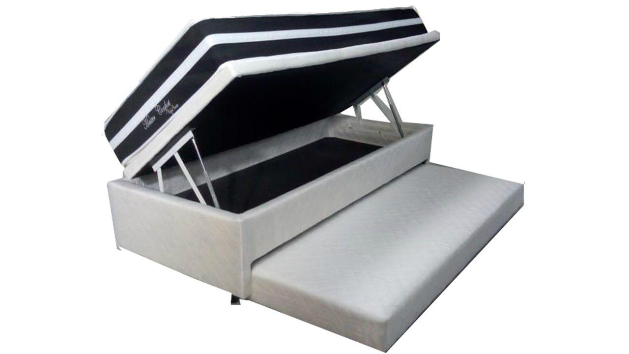 Cama Baú Solteiro 3 em 1 C/ Cama Auxiliar em Espuma Corino Branco + Colchão Molas Luxor Black