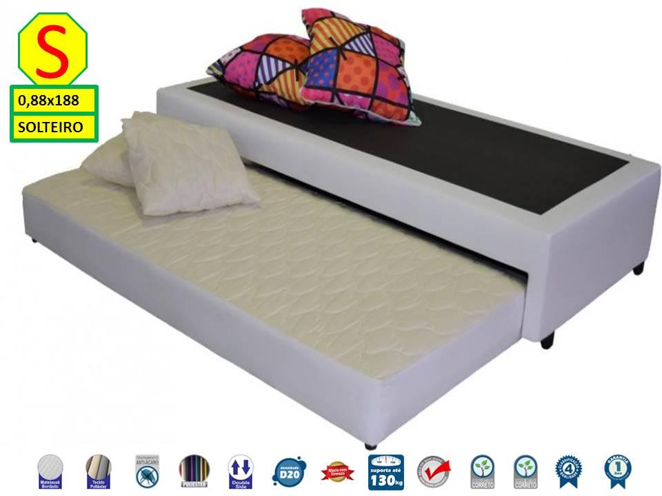 Bicama Box Solteiro 88x188 Premium Corino Diversas Cores + Colchão de Espuma Falcon