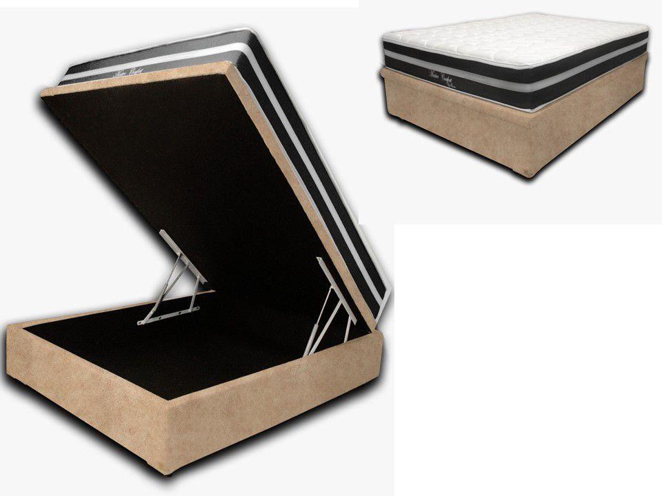 Cama Box Baú Casal Premium Sued Bege 1,38x1,88 + Colchão de Molas Luxor Black