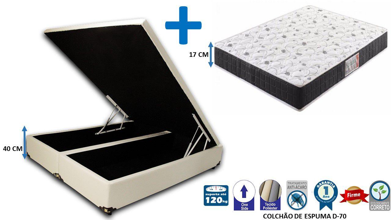 Conjunto Cama Box Bau Bipartido Casal 1,38 x 1,88 Premium Corino Bege + Colchão Espuma Falcon