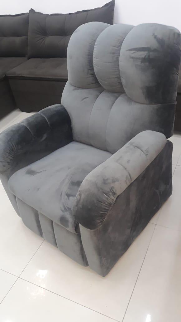 Poltrona Do Papai Assento e Encosto Reclinável K-38 Veludo Grafite