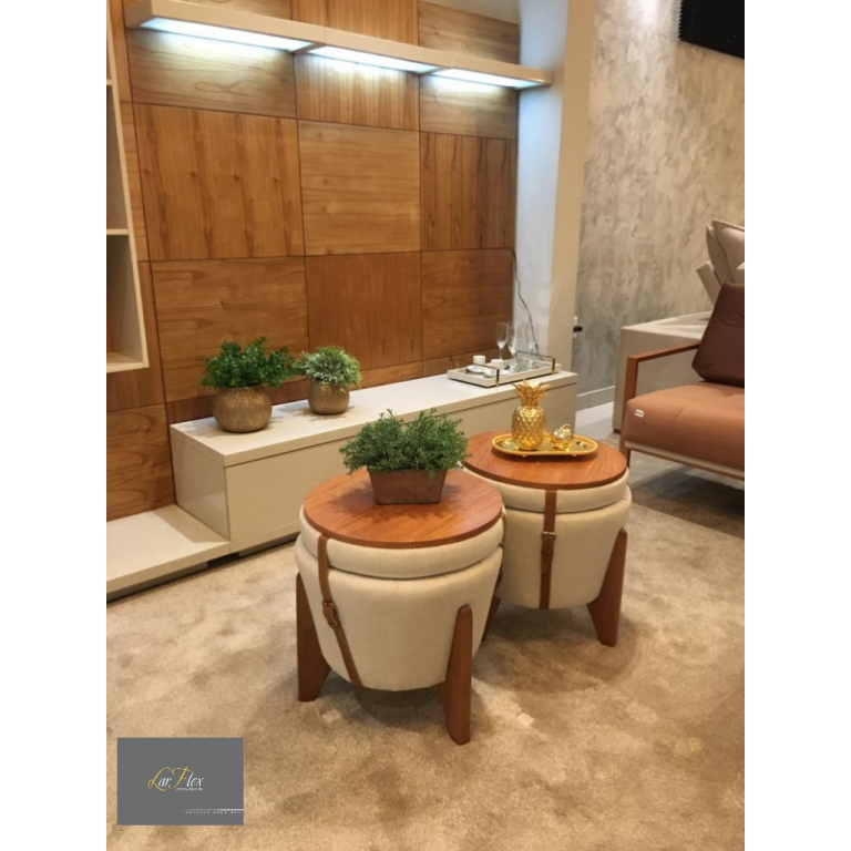 Puff Flex 70 New House -Madeira + Couro