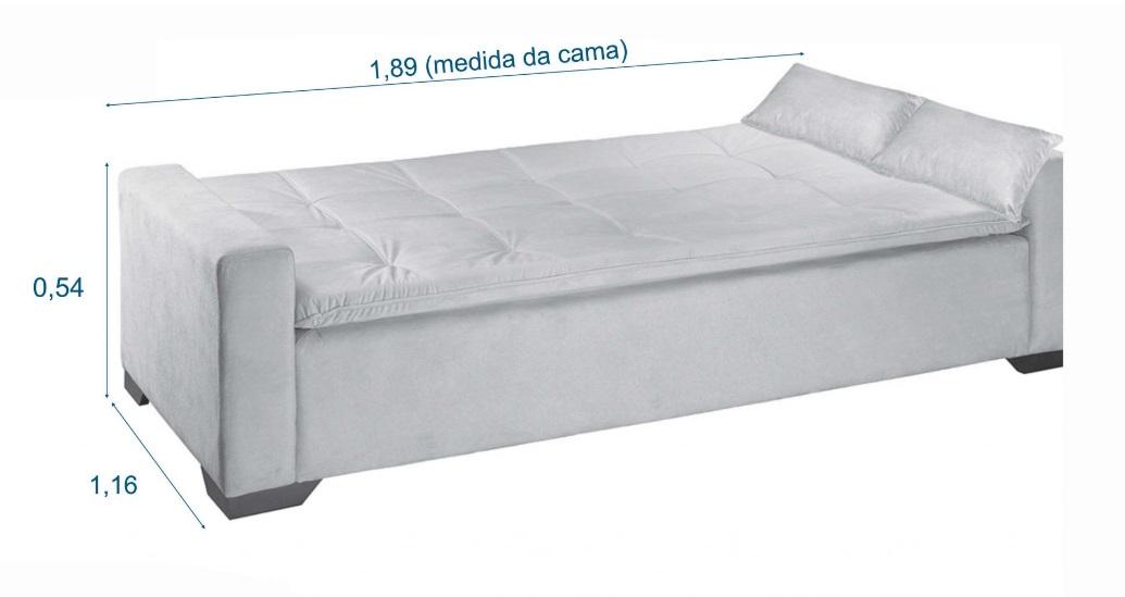 Sofá Cama com Braço Ref. 709 Rondomóveis Cores Azul ou Marrom