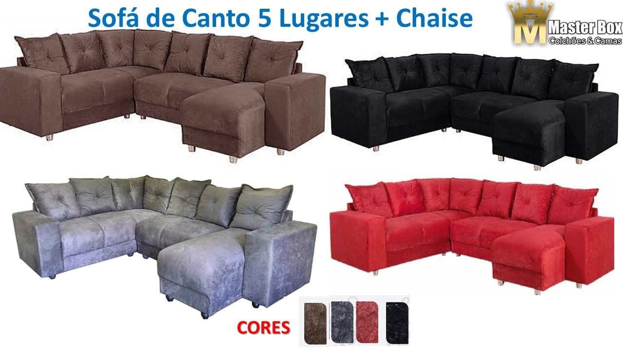 Sofá de Canto 5 Lugares 5070 Chaise – Diversas Cores