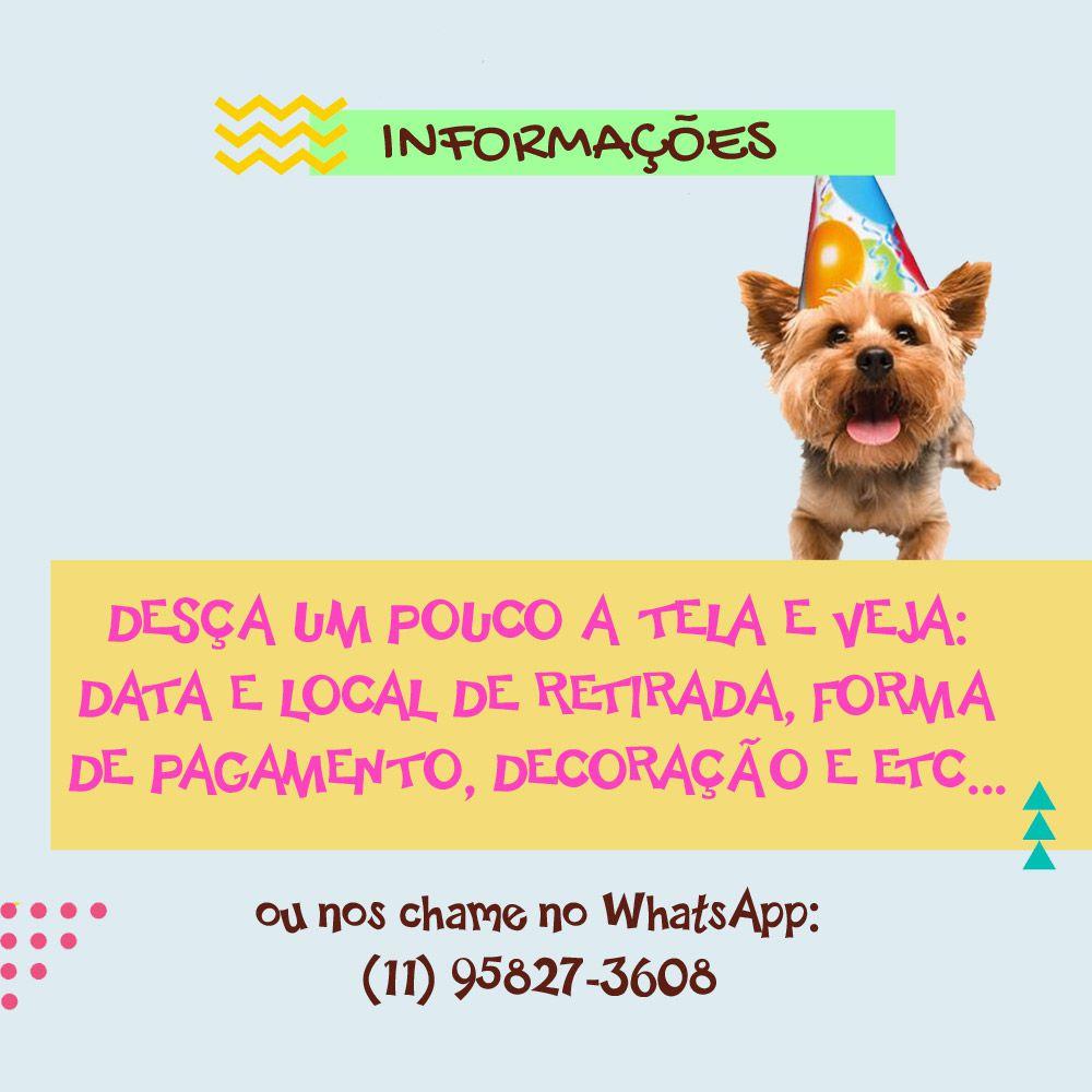 Bolo de Aniversário para Cães com Cobertura de Biscoitos Triturados e Fita Fina - Modelo 1