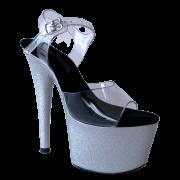 Sandália Del Diablo Glitter Prata NR 9US - Play Heels (pronta entrega)