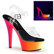 Sandália Rainbow 208 UV Transparente - Pleaser (encomenda)