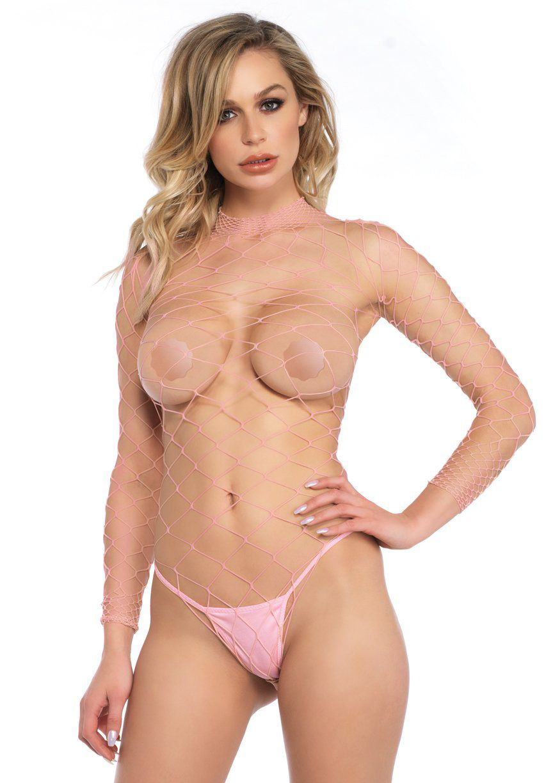 Body Manga Longa Telado Pink - Tam U - Leg Avenue (pronta entrega)