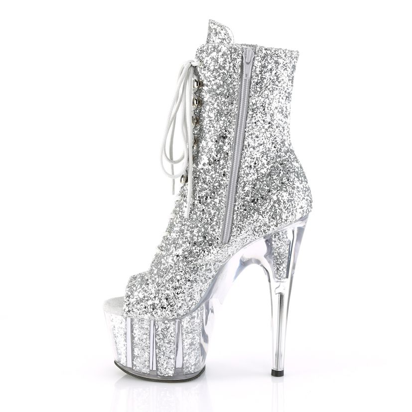 Bota Adore 1021 G Acrílico Glitter Ankle Boot Peep Toe - Pleaser (encomenda)
