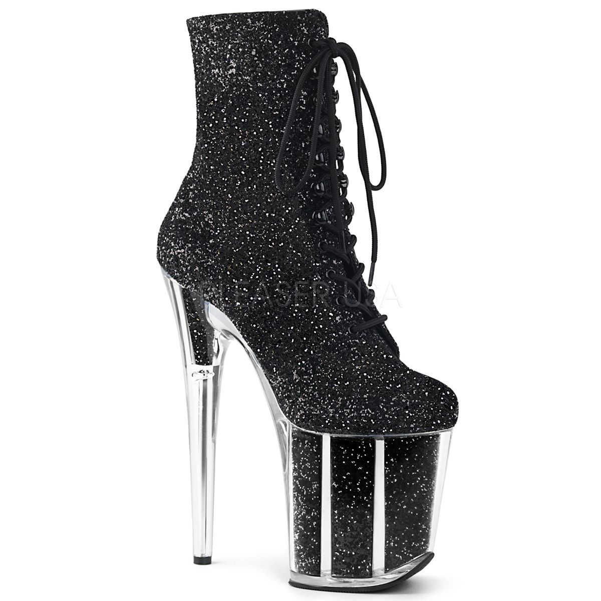 Bota Flamingo 1020 G Glitter e Acrílico Ankle Boot  - Pleaser (encomenda)