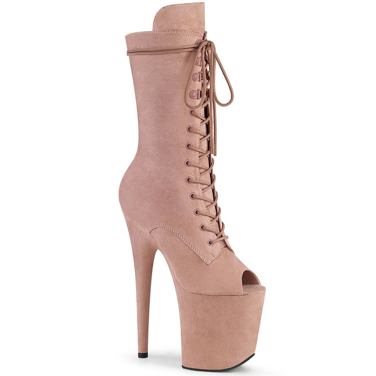 Bota Flamingo 1051 FS Veludo Peep Toe Ankle Boot EXT - Pleaser (encomenda)