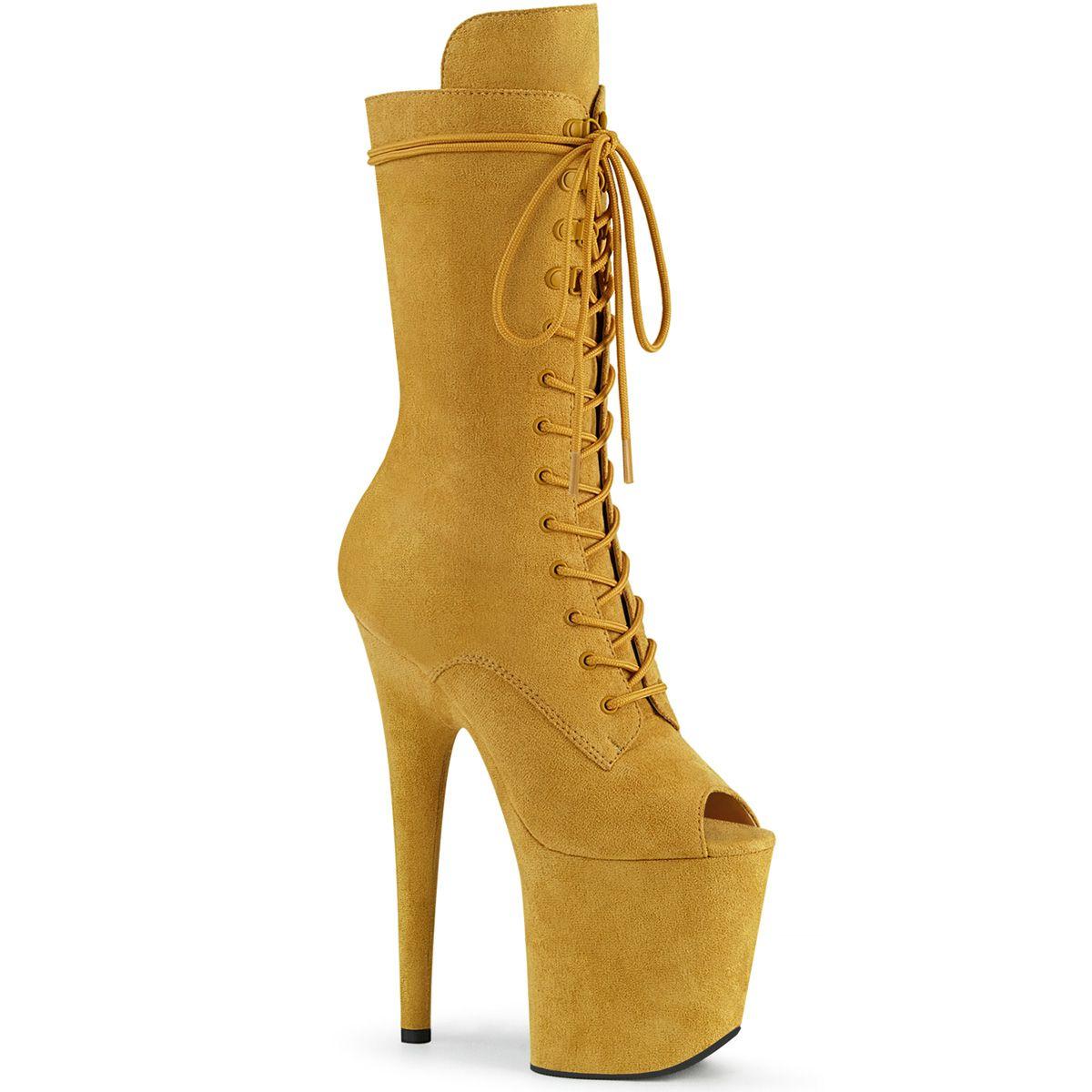 Bota Flamingo 1051 FS Veludo Peep Toe Ankle Boot EXT - Pleaser (encomenda)