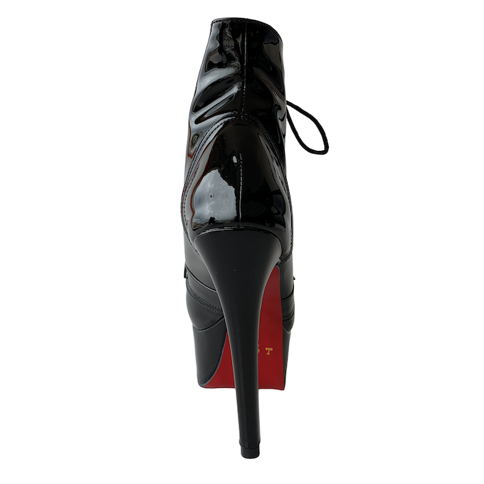 Bota Vitória Preto com Sola Vermelha Gold NR 7US - Play Heels (pronta entrega)