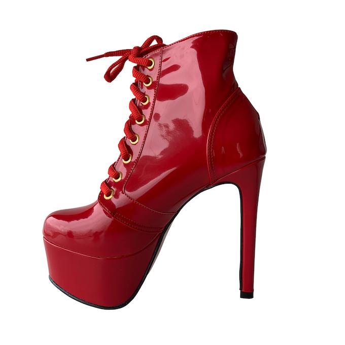 Bota Vitória Vermelho Gold NR 6US - Play Heels (pronta entrega)