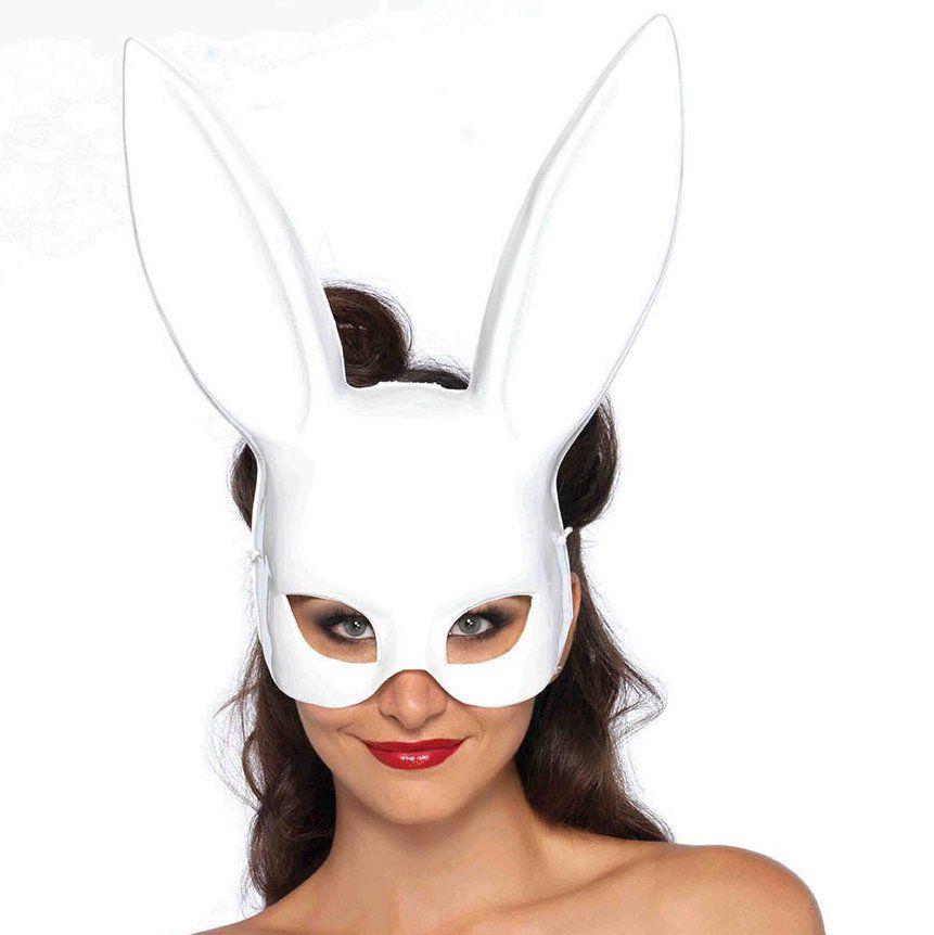 Máscara Bondage de Coelho Branca - PlayPole (pronta entrega)