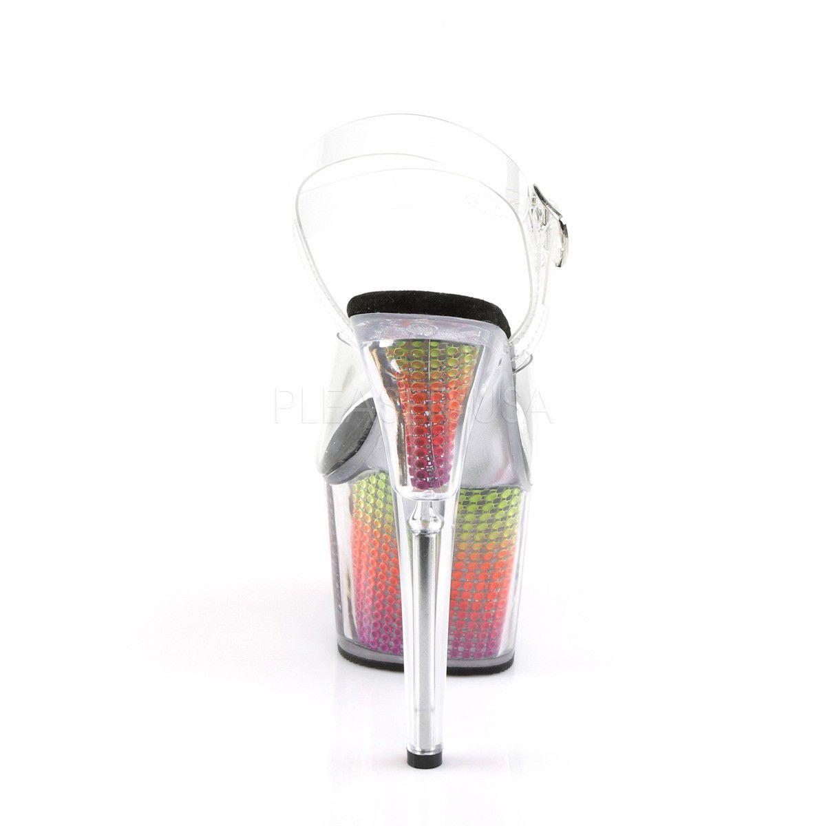 Sandália Adore 708 SRS Acrílico e Strass UV Rainbow - Pleaser (encomenda)