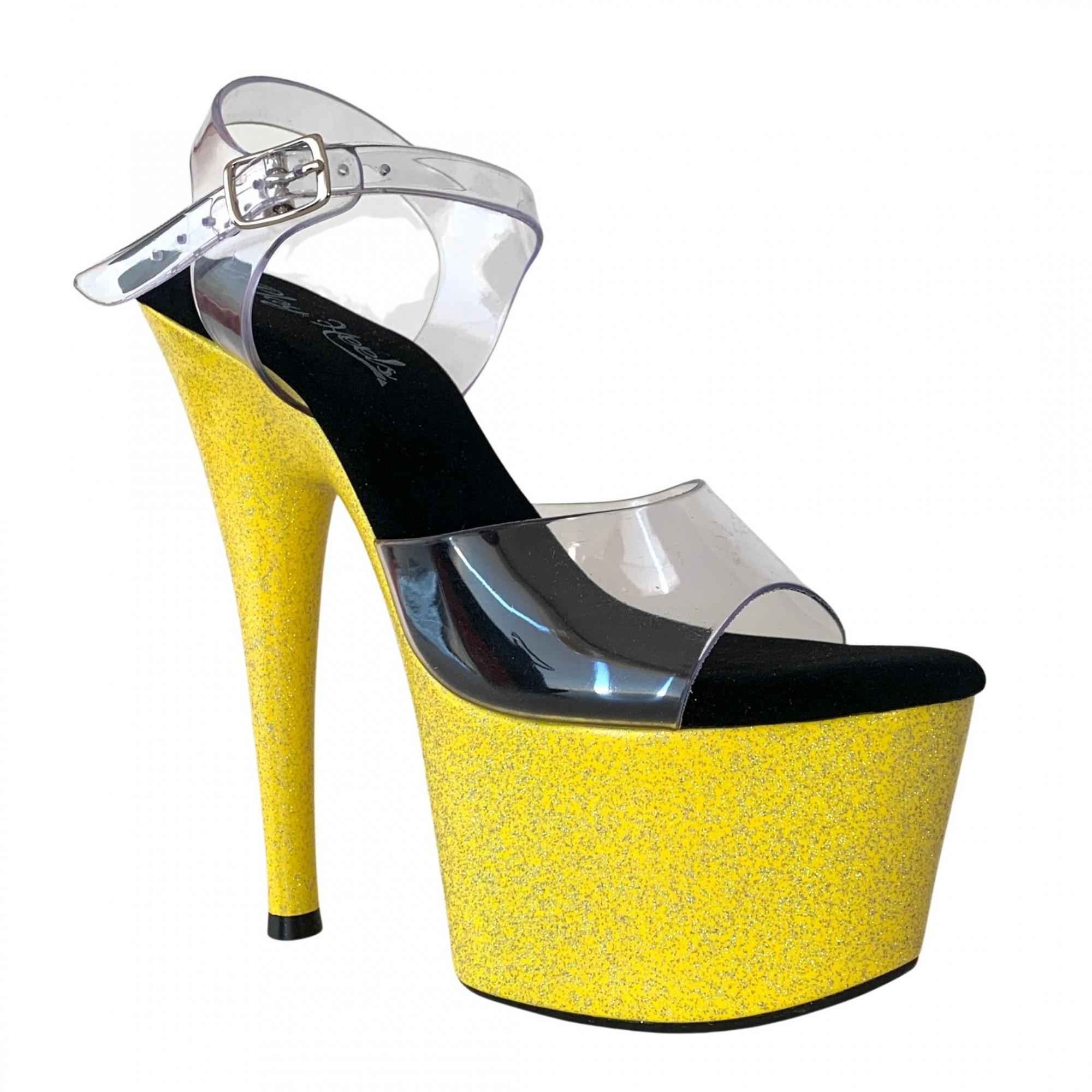 Sandália Del Diablo Glitter Amarelo NR 35-36 BR / 7US - Play Heels (pronta entrega)