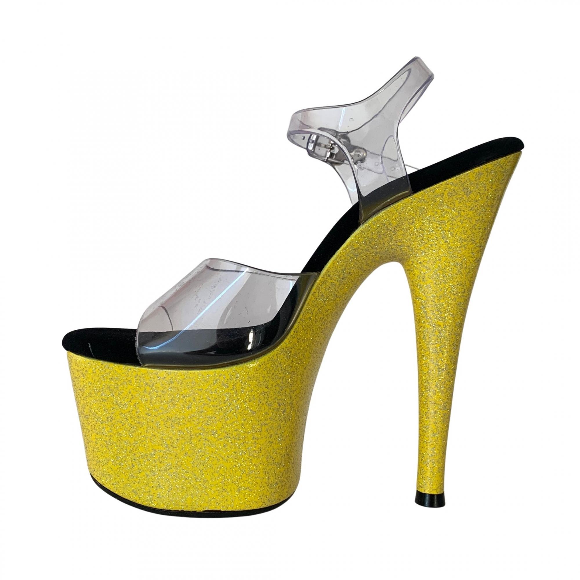 Sandália Del Diablo Glitter Amarelo NR 7US - Play Heels (pronta entrega)