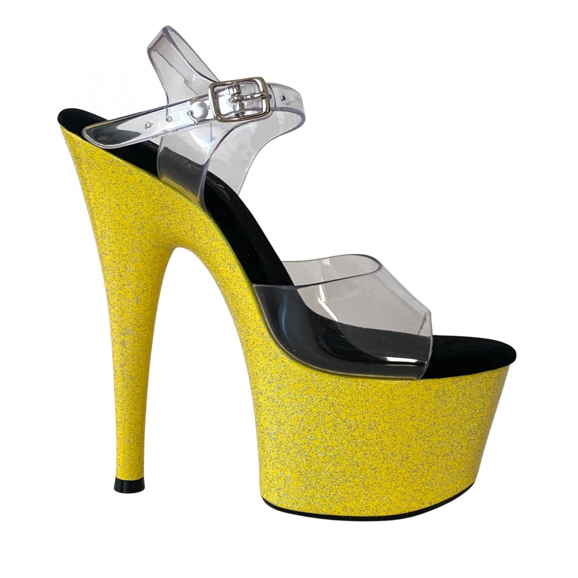 Sandália Del Diablo Glitter Amarelo - Play Heels (encomenda)