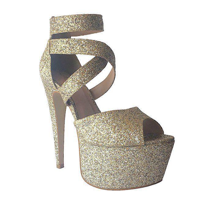 Sandália Diva Glitter Dourado NR XX - Play Heels (pronta entrega)