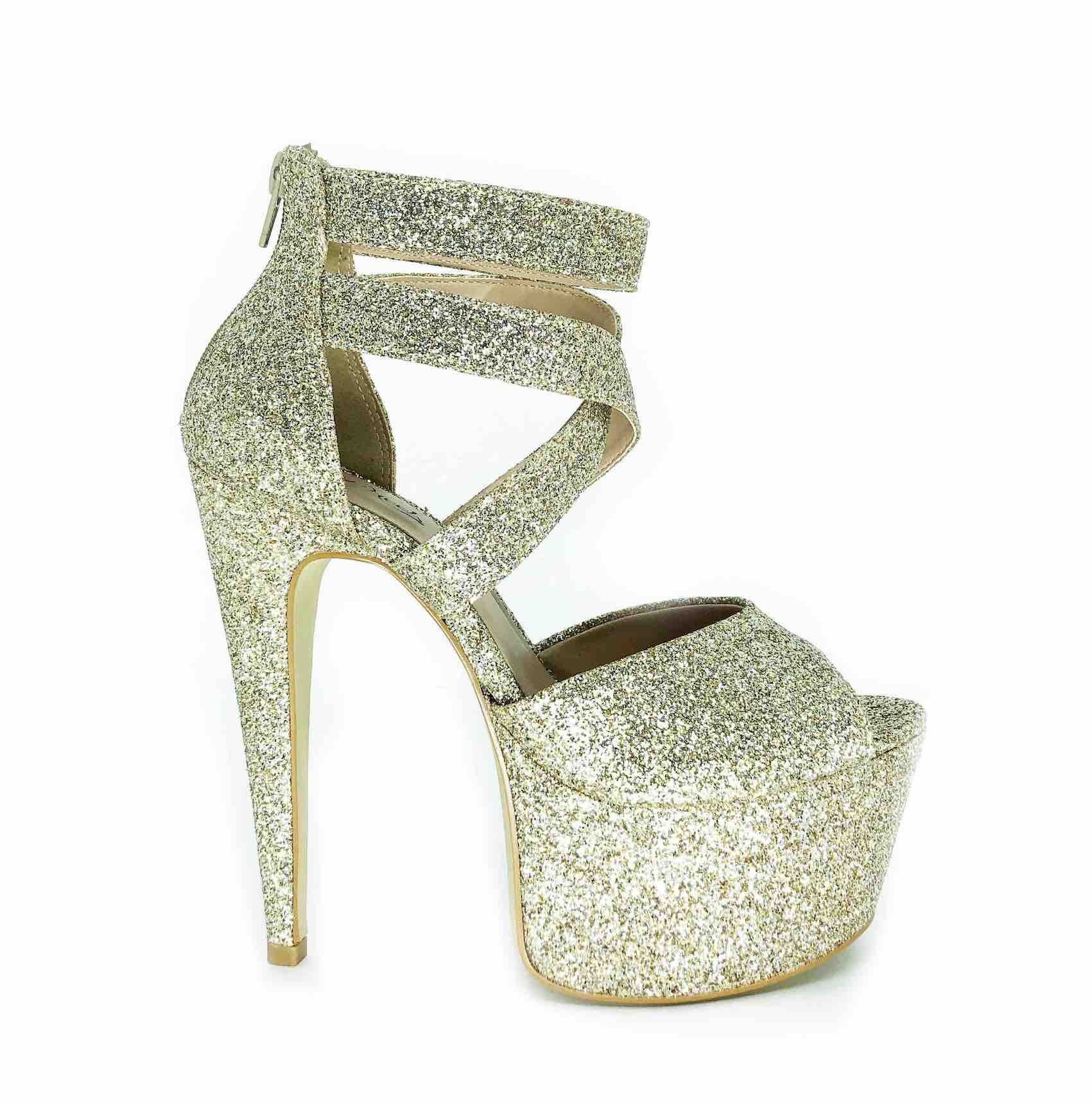Sandália Diva Glitter Dourado NR 8US - Play Heels (pronta entrega)