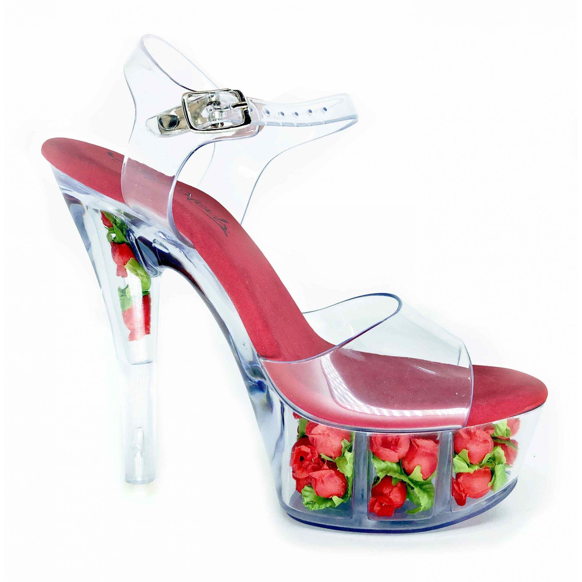 Sandália Dominica Flor Vermelho NR 8US - Play Heels (pronta entrega)
