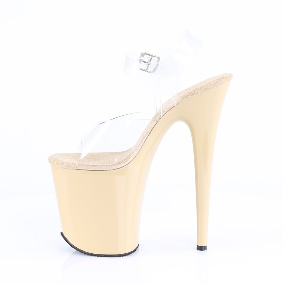 Sandália Flamingo 808 Nude e Clear - Pleaser (encomenda)