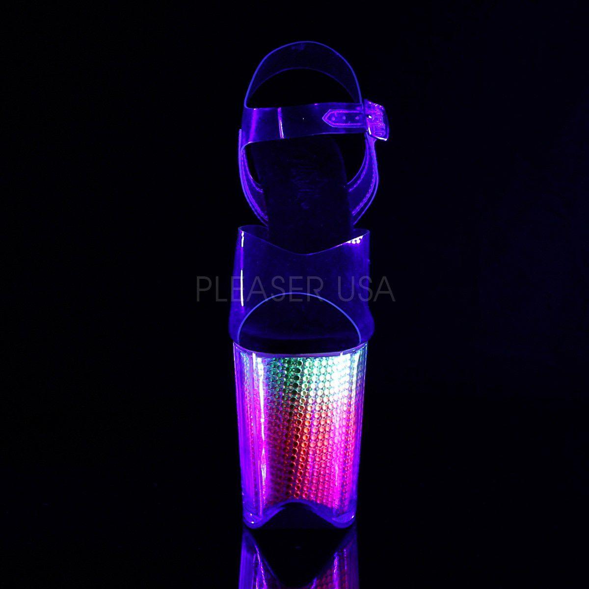 Sandália Flamingo 808 SRS Acrílico e Strass Rainbow UV - Pleaser (encomenda)