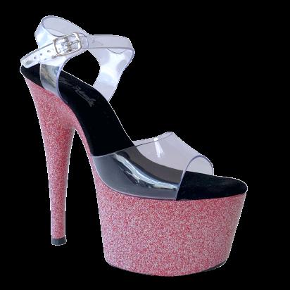 Sandália Del Diablo Glitter Pink NR 8US - Play Heels (pronta entrega)