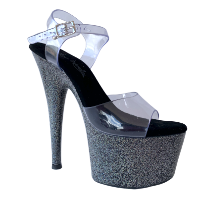 Sandália Del Diablo Glitter Preto - Play Heels (encomenda)