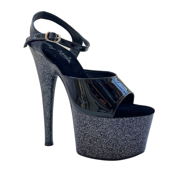 Sandália Muse Glitter Preto NR 33-34 BR / 5US - Play Heels (pronta entrega)