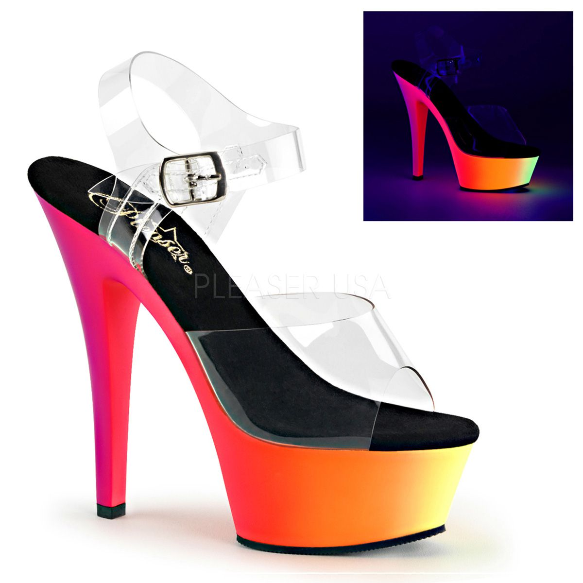 Sandália Rainbow 208 UV Transparente - Pleaser (encomenda)