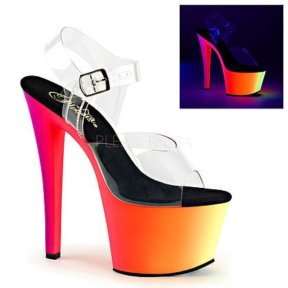 Sandália Rainbow 308 UV Transparente - Pleaser (encomenda)