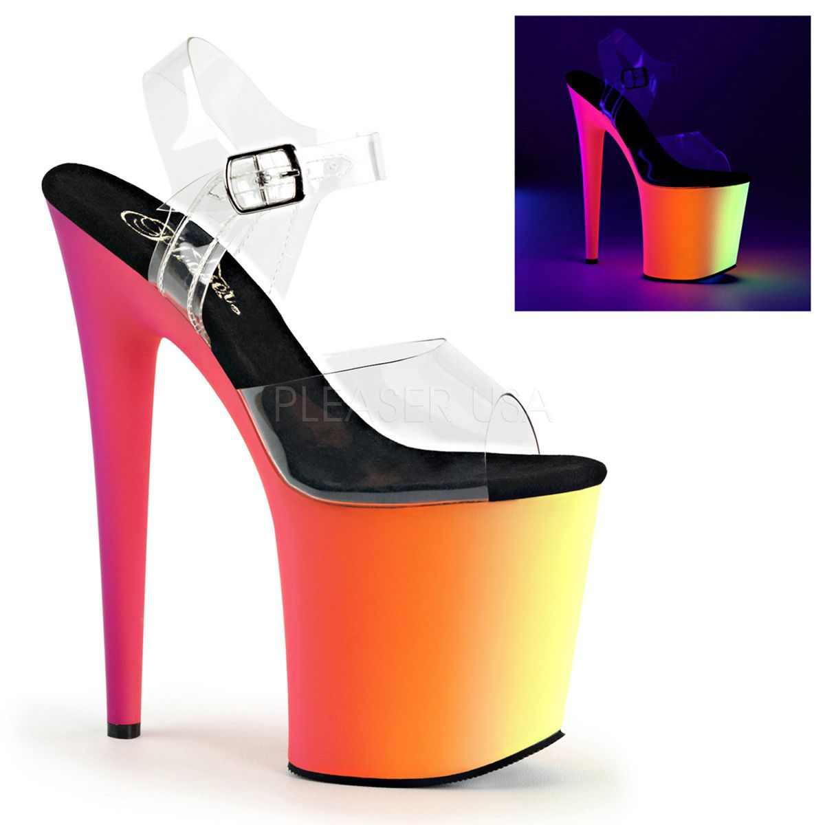 Sandália Rainbow 808 UV Transparente - Pleaser (encomenda)