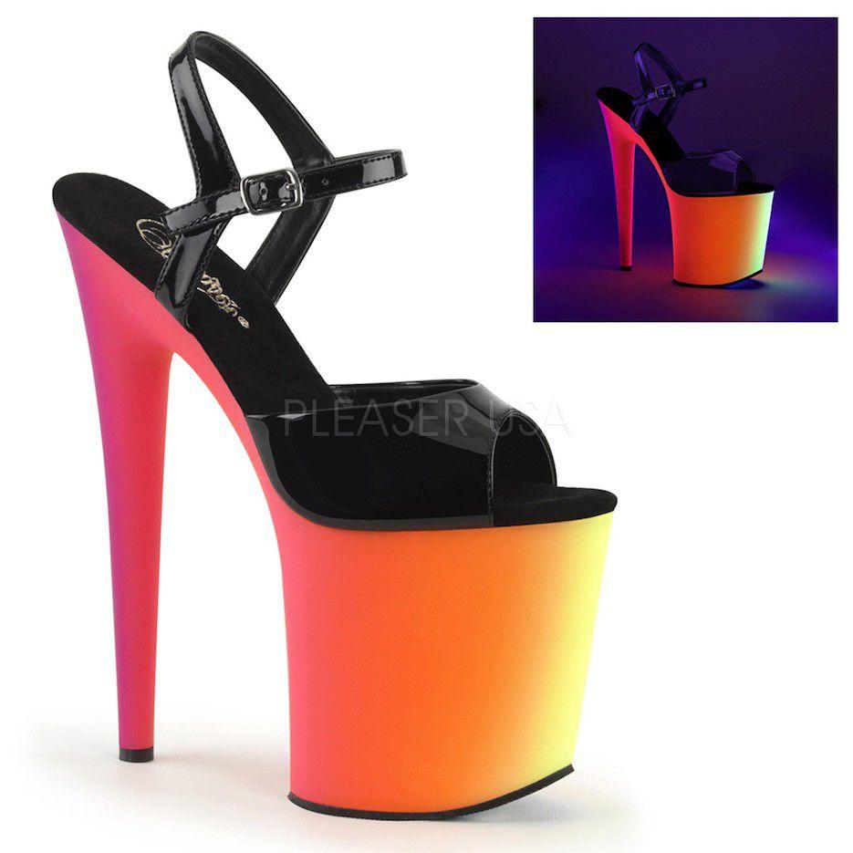 Sandália Rainbow 809 UV Preta - Pleaser (encomenda)