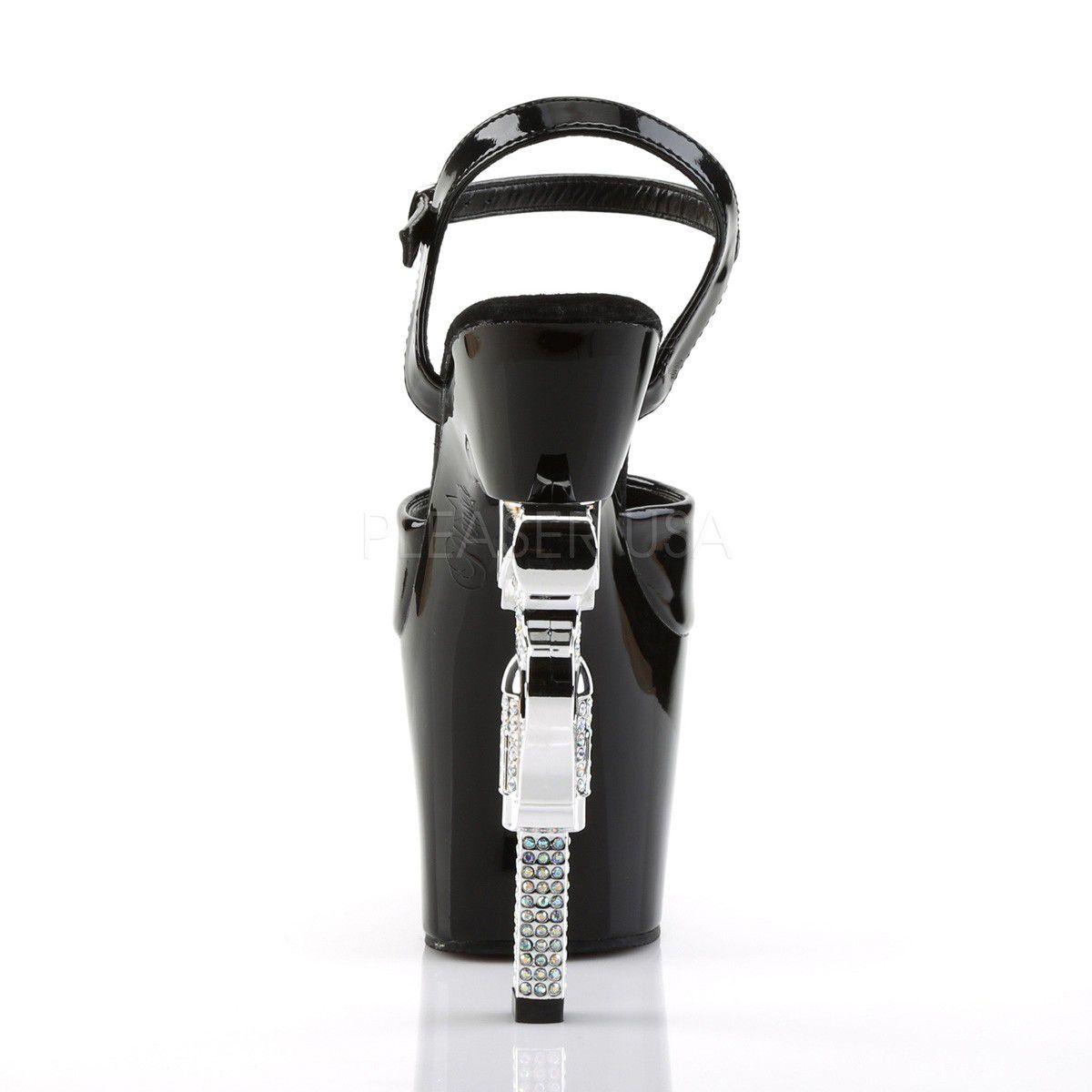 Sandália Revolver 709 Preta - Pleaser (encomenda)