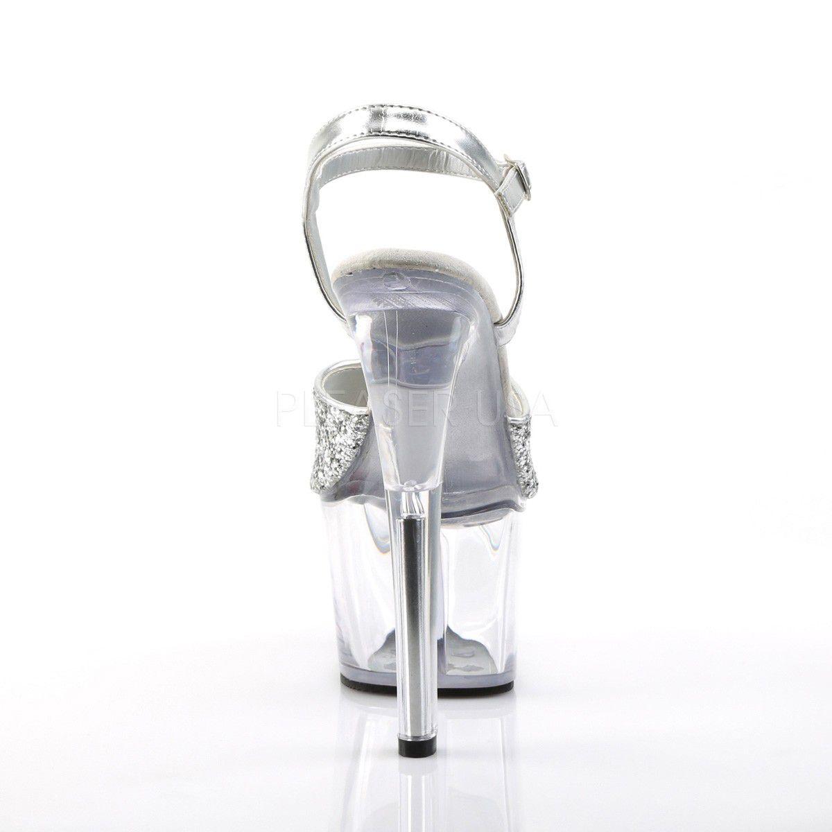 Sandália Sky 310 Glitter Prata Acrílico - Pleaser (encomenda)