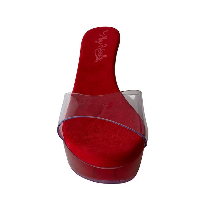 Tamanco Queen Acrílico Vermelho NR 9US - Play Heels (pronta entrega)