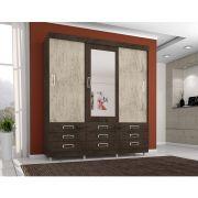 Guarda Roupa 4900 3 Portas deslizantes com Espelho 9 Gavetas Imbuia Flex - Araplac