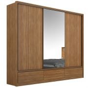 Guarda Roupa Casal Lounge 3 Portas Deslizantes 7 Gavetas Amêndola - Demartêz
