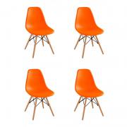 Kit 04 Cadeiras Eiffel Charles Eames em ABS c/ Base de Madeira DSW Laranja- Facthus