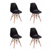Kit 04 Cadeiras Eiffel Charles Eames em ABS c/ Base de Madeira DSW Preto - Facthus
