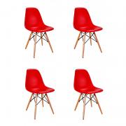 Kit 04 Cadeiras Eiffel Charles Eames em ABS c/ Base de Madeira DSW Vermelho - Facthus